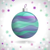 Christmas Ball. Multicolored Striped Christmas Ball on Background of Snowflakes, Vector Illustration EPS10 Royalty Free Stock Photo