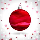 Christmas Ball. Multicolored Striped Christmas Ball on Background of Snowflakes, Vector Illustration EPS10 Stock Images