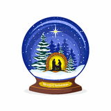 Christmas ball. Nativity scene. Christmas. Mary, Joseph and small Jesus. Forest and snow. Royalty Free Stock Photo