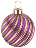 Christmas ball New Year bauble decoration purple gold. Sphere icon. Beautiful shiny Merry Xmas winter symbol classic traditional. 3d render isolated on white Stock Photos