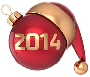 Christmas ball 2014 New Year bauble decoration. Christmas ball 2014 New Year bauble red gold decoration Santa hat icon banner traditional. Merry Xmas symbol Stock Image