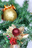 Christmas ball on new year firtree branch. In snow Royalty Free Stock Images