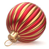 Christmas ball New Year's Eve bauble decoration red golden. Wintertime hanging adornment classic. Traditional ornament happy winter holidays Merry Xmas event royalty free illustration