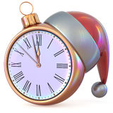 Christmas ball New Year`s Eve clock midnight hour pressure Stock Image