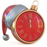 Christmas ball New Year`s Eve clock midnight hour pressure Stock Photos