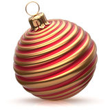 Christmas ball New Year's Eve decoration bauble red golden. Wintertime hanging adornment classic. Traditional happy winter holidays ornament Merry Xmas event royalty free illustration