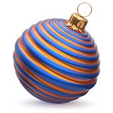 Christmas ball New Year`s Eve decoration blue orange striped. Christmas ball New Year`s Eve decoration blue orange shiny striped bauble wintertime hanging Stock Photography