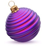 Christmas ball New Year`s Eve decoration blue purple bauble. Christmas ball New Year`s Eve decoration blue purple striped bauble wintertime hanging adornment Royalty Free Stock Photos