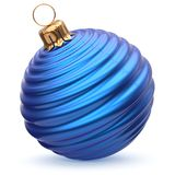 Christmas ball New Year`s Eve decoration blue striped bauble. Christmas ball New Year`s Eve decoration blue shiny striped bauble wintertime hanging adornment Stock Image