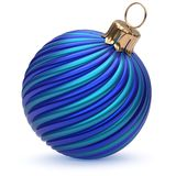 Christmas ball New Year`s Eve decoration blue twisted stripes. Christmas ball New Year`s Eve decoration blue shiny twisted stripes bauble wintertime hanging Stock Images