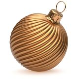 Christmas ball New Year`s Eve decoration gold shiny twisted. Stripes bauble wintertime hanging adornment souvenir golden. Traditional ornament happy winter Stock Image