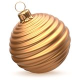 Christmas ball New Year`s Eve decoration gold striped bauble. Christmas ball New Year`s Eve decoration gold shiny striped bauble wintertime hanging adornment Royalty Free Stock Photos