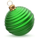 Christmas ball New Year`s Eve decoration green stylish bauble. Wintertime hanging adornment waved shiny souvenir. Traditional ornament happy winter holidays Royalty Free Stock Photo