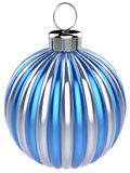 Christmas ball New Years Eve bauble decoration blue silver. Wintertime ornament icon traditional. Shiny Merry Xmas winter holidays symbol classic. 3d render royalty free illustration