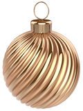 Christmas ball New Years Eve bauble decoration gold. Luxury golden wintertime ornament icon traditional. Shiny Merry Xmas winter holidays symbol modern. 3d Stock Photo