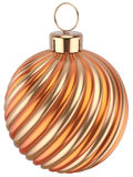 Christmas ball New Years Eve bauble decoration orange gold. Christmas ball bauble New Years Eve decoration orange gold sphere icon. Beautiful shiny Merry Xmas Stock Photo