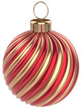 Christmas ball New Years Eve bauble decoration red gold. Christmas ball New Years Eve bauble decoration gold red wintertime ornament icon traditional. Shiny Royalty Free Stock Photo
