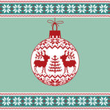 Christmas ball with nordic pattern vector illustration