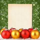 Christmas ball with notebook Stock Photo