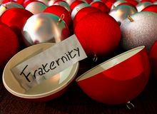 Christmas ball open with the message Fraternity among other red and silver christmas balls 3D Illustration. 3D Illustration of Christmas ball open with the vector illustration