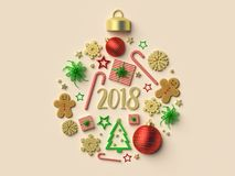 2018 Christmas ball ornament background. 3d rendered illustration Royalty Free Stock Photography