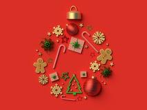 2018 Christmas ball ornament background. 3d rendered illustration Stock Image