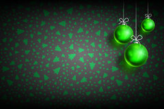 Christmas ball ornament background-02. Merry Christmas and Happy New Year dark background with Green Christmas Ball. Christmas related ornaments objects on color Stock Photos