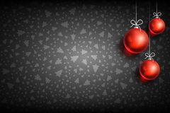Christmas ball ornament background-01. Merry Christmas and Happy New Year dark background with Red Christmas Ball. Christmas related ornaments objects on color Royalty Free Stock Image