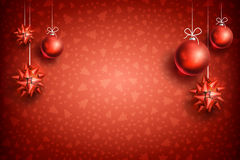 Christmas ball ornament background2-04. Merry Christmas and Happy New Year red background with red Christmas Ball and Bow. Christmas related ornaments objects on Royalty Free Stock Photo