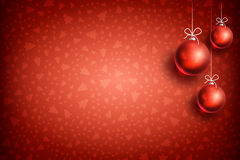 Christmas ball ornament background-04. Merry Christmas and Happy New Year red background with red Christmas Ball. Christmas related ornaments objects on color Royalty Free Stock Photos