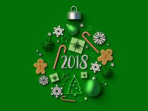 2018 Christmas ball ornament green background. 2018 Christmas ball ornament on green background. 3d rendered illustration Stock Images