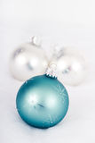 Christmas ball ornament. Over light grey background royalty free stock photography