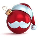 Christmas ball ornament Santa Claus hat New Year bauble red Stock Images