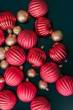 Christmas ball ornaments from above Stock Images