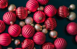 Christmas ball ornaments as seen photographed from above Stock Images
