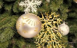 Christmas ball, ornaments and decorations on green fir tree branches. On natural background. Holidays celebration concept royalty free stock photography