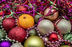 Christmas ball ornaments Christmas holiday decor new year royalty free stock photos