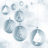 Christmas ball ornaments with ribbons on white Stock Images