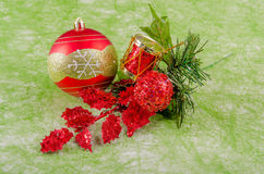 Christmas ball with ornaments Royalty Free Stock Photo