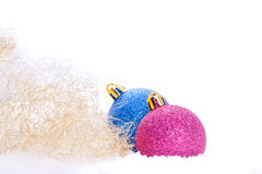 Christmas ball ornaments with tinsel Stock Photo