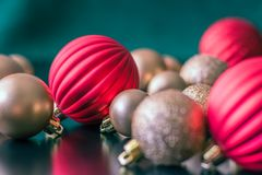 Christmas ball ornaments waiting to go on the tree. Royalty Free Stock Photo