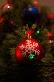 Christmas ball and other decoration on tree. Happy new year conception Royalty Free Stock Images