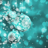 Christmas ball over glow light bokeh. vector illustration