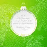 The Christmas ball. Christmas ball over green background with fir tree. Pinecone and fir toy frame  on green background. Vector illustration Royalty Free Stock Photography