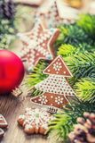 Christmas. Christmas ball pastry gingerbread pine cone and decoration. Christmas time Stock Photos