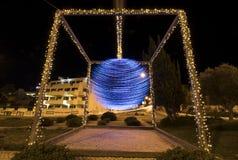 Christmas ball pendulum roundabout. Stock Photo