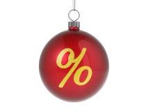 Christmas ball with percent symbol. Christmas red ball with golden shiny percent symbol Stock Images