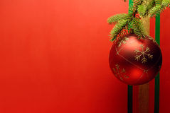Christmas ball with pine branch Royalty Free Stock Image