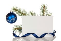 Christmas ball on pine branch, blank card for congratulations, isolated on white. Background Stock Image