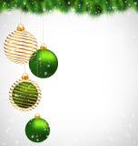 Christmas ball on pine on grayscale Stock Photos